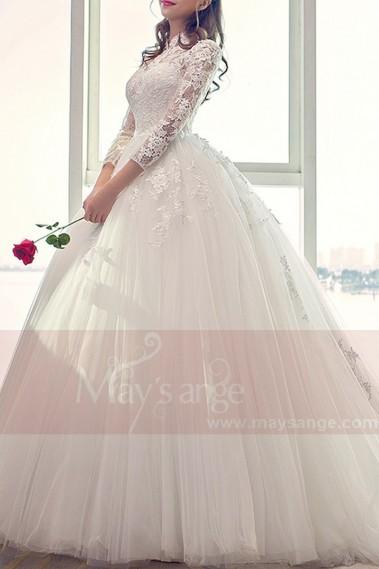 belle robe de mariee en dentelle manche longue petit col montant - M406 #2